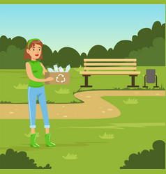 Ecological lifestyle concept with woman collecting vector