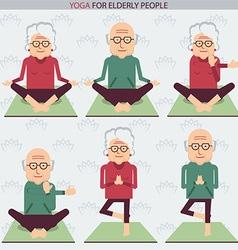Elderly people yoga lifestlye symbols vector image