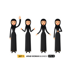 emotions arab business women waving hand happy vector image