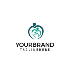 family love logo design concept template vector image