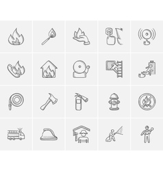 Fire sketch icon set vector image