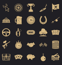 Game chance icons set simple style vector