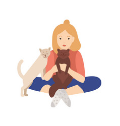 Girl holding cuddling and stroking her cats vector