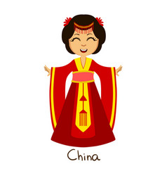 Girl in china country national clothes wearing vector