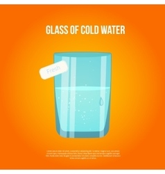 Glass with cold water and bubbles on bright vector