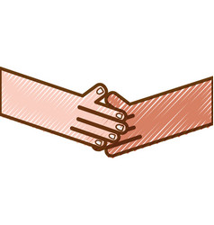 grated humans shaking hands with fingers and nails vector image