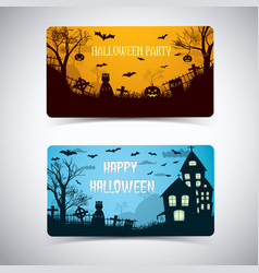 halloween night cartoon style banners vector image