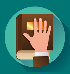 hand on constitution as oath concept icon vector image