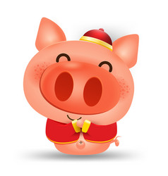 Happy chinese new year 2019pig cartoon isolated vector