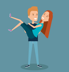 happy couple man holding carrying his girlfriend vector image