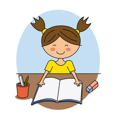 happy girl reading vector image