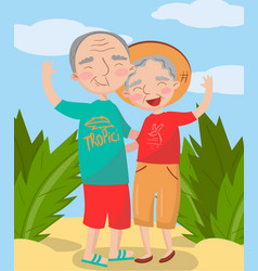 happy mature couple posing on the beach best vector image