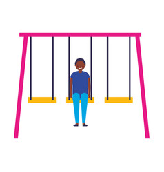 Happy teenager on a swing vector