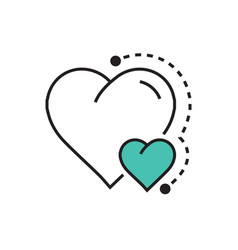 Heart mini icon dots style green vector