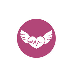heartbeat wings breast cancer awareness vector image