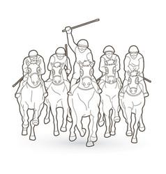 Horse racing jockey riding horse outline vector