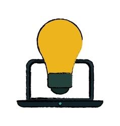 Idea laptop technology sketch vector