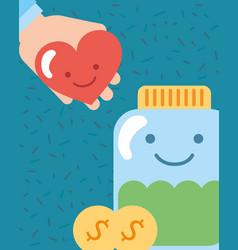 Kawaii jar and heart in hand coins charity vector
