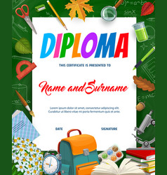Kids education diploma with schoolbag textbook vector