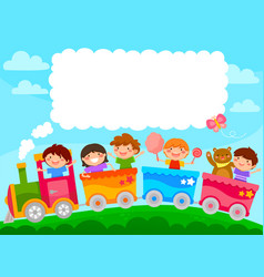 Kids in a train vector