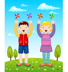 Kids playing wind wheel vector