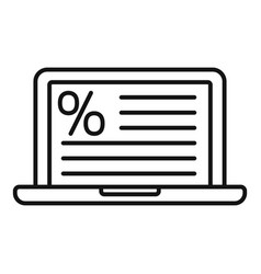 Laptop tax regulation icon outline style vector