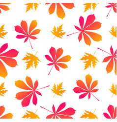 Leaves of maple and chestnut autumnal seamless vector