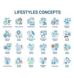 Lifestyles concepts icons set living types idea vector