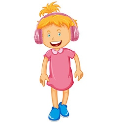 Little girl wearing headphone vector