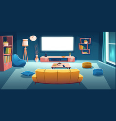 Living room interior with tv sofa at night time vector
