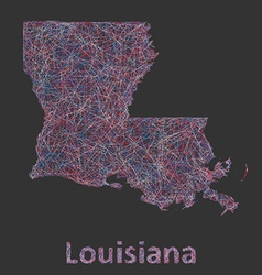 Louisiana line art map vector image vector image