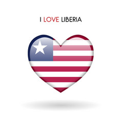 love liberia symbol flag heart glossy icon on a vector image