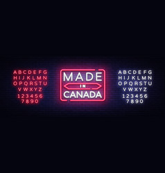 made in canada neon sign made in canada vector image