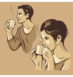 Man and woman drinking coffee vintage vector image