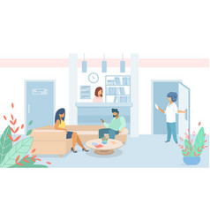 Man and woman patients sitting in clinic lobby vector