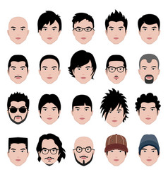 man male face head hair hairstyle a set of man vector image