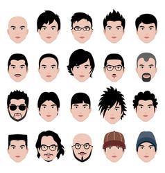 Man male face head hair hairstyle a set of vector