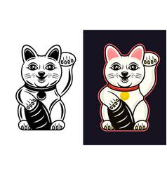 maneki neko in two styles black and colored vector image