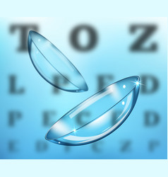 Medicine and vision concept - contact lenses on vector