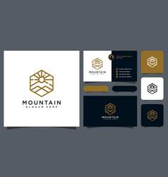 minimalist line abstract mountain with sun light vector image