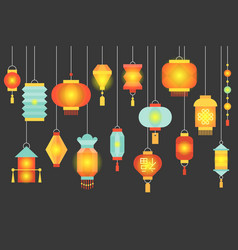 night scene of traditional chinese paper lantern vector image