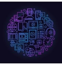 Online education round symbol vector
