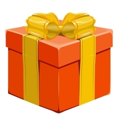 Orange closed gift box with bow vector image