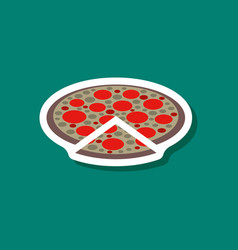 Paper sticker pizza vector