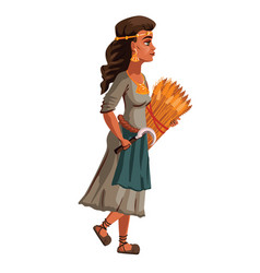 Peasant woman with sickle and sheaf spikelets vector