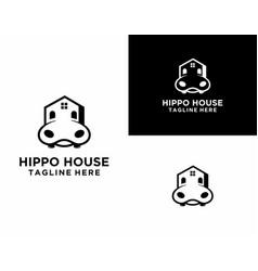 Playful and modern hippo house logo vector