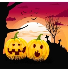 pumpkins in romantic full moon halloween night vector image