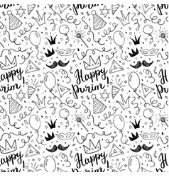 Purim seamless pattern traditional jewish holiday vector