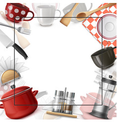 realistic dishes colorful template vector image