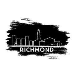 richmond skyline silhouette hand drawn sketch vector image